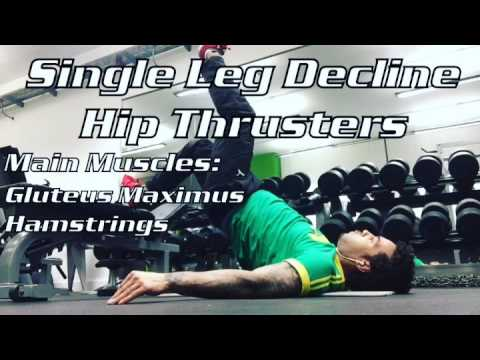 Decline Single Leg Hip Thrusters