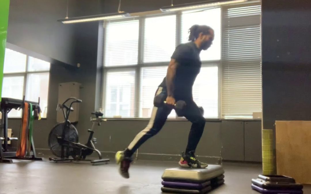Elevated Reverse DB Lunges
