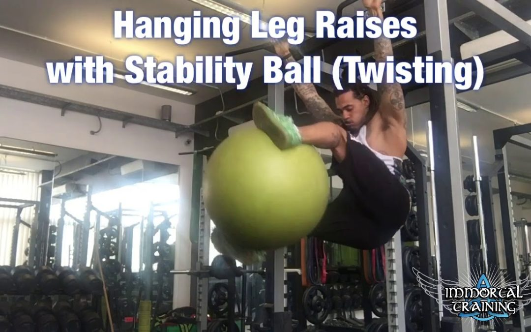 Hanging Leg Raises with Stability Ball (Twisting)