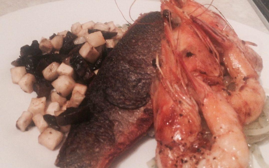 Sea Bass with Celeriac, Mushrooms & Fennel