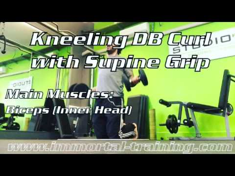 Kneeling DB Curl with Supine Grip