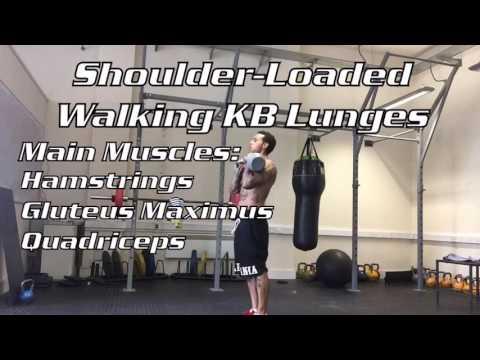 Shoulder-Loaded Walking KB Lunges