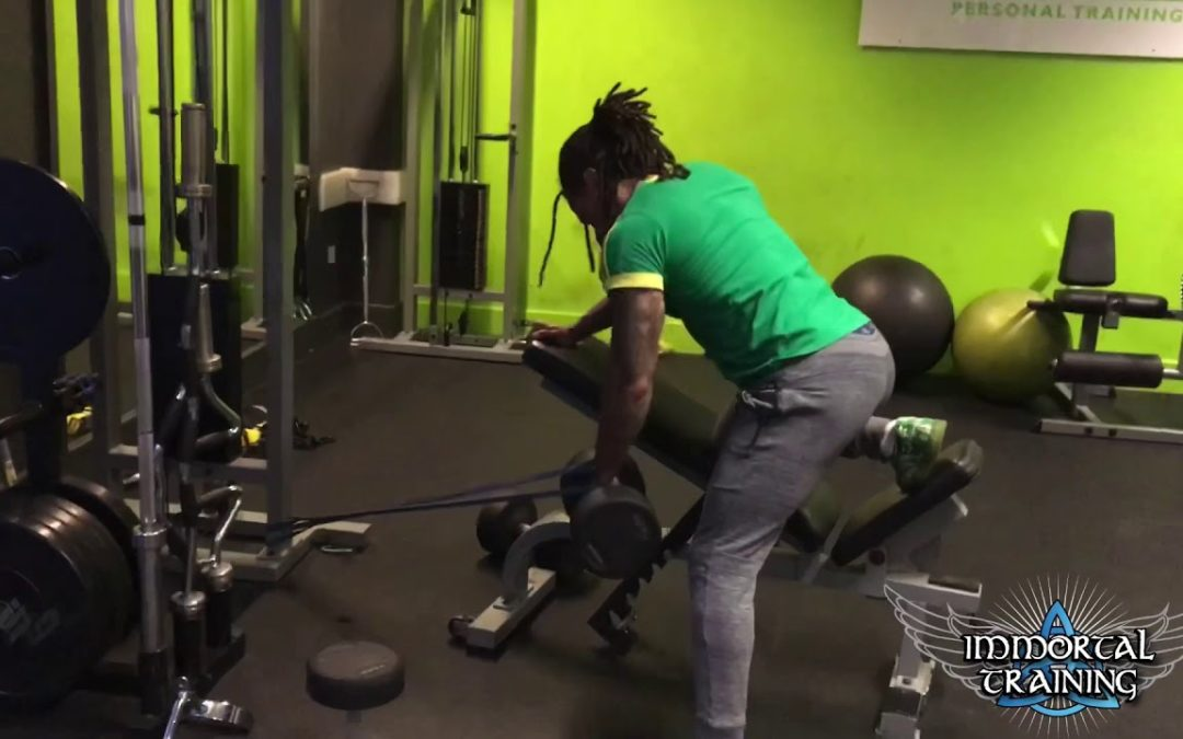 Single Arm Bent Over DB Row with Resistance Band