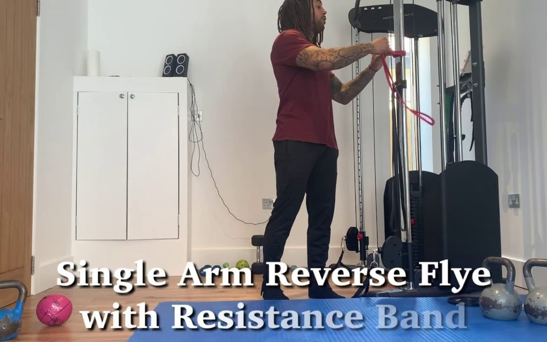 Single Arm Reverse Flyes with Resistance Band